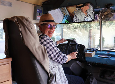 Retired on a school bus!   Skoolie!