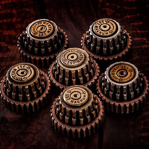 Gear and .357 magnum bullet shell knobs
