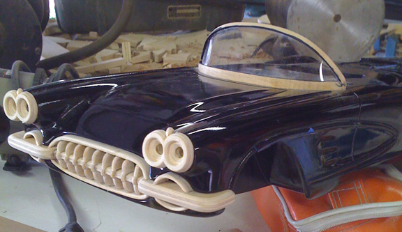 '58 Corvette (bumper-headlights-windshield in progress)