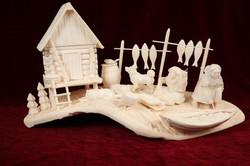 Скульптура Остяцкое хозяйство Материал рог лося.JPG