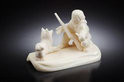 Скульптура Охотник с собакой ум. Материал цевка.jpg