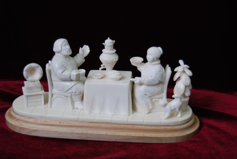 Скульптура Чаепитие, Материал рог лося.jpg