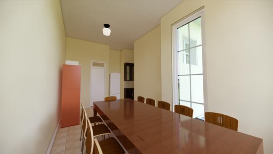 Salão educativo, vista para a porta lateral