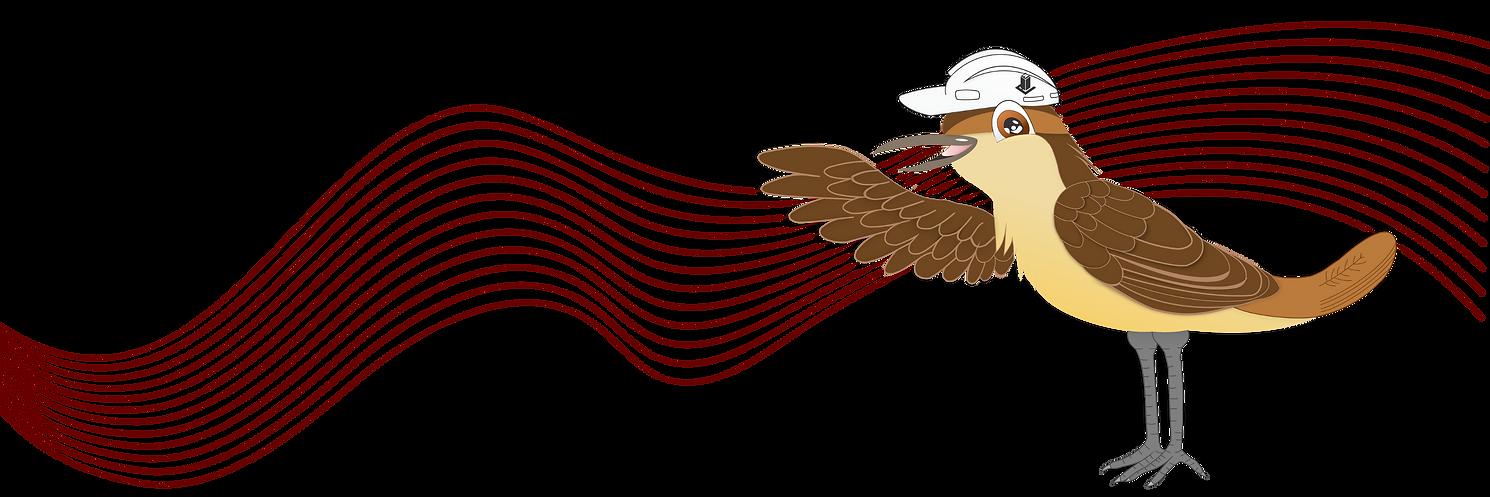 Mascote da Edifica: desenho de um pássaro, o joão de barro, em tons de marrom, om um capacete de segurança branco comumente usado em obras civis. O capacete possui o desenho da logo da Edifica Consultoria na cor cinza.