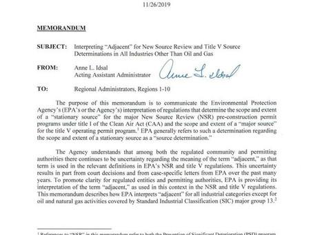 "EPA's New Policy on ""Adjacency"", November 15, 2020 Eric L. Hiser"