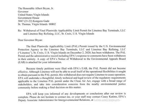 EPA Withdraws Limetree Bay PAL, May 27, 2021   Eric L. Hiser