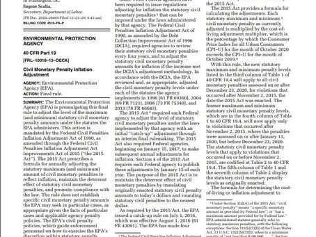 EPA Raises NSR Penalties, February 16, 2021 Eric L. Hiser