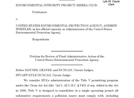 Fifth Circuit: Title V Doesn't Allow Review of NSR Permit ConditionsMay 31, 2020 | Eric L. Hiser