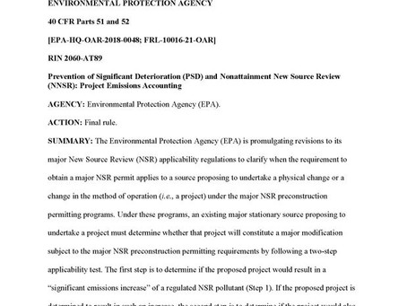 """EPA Issues """"Project Emissions Accounting"""" Rule October 25, 2020