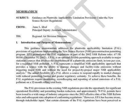EPA Releases New PAL Guidance February 19, 2020 | Eric L. Hiser