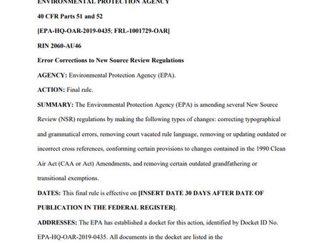 """EPA Issues """"NSR Corrections"""" Rule, January 18, 2021 Eric L. Hiser"""