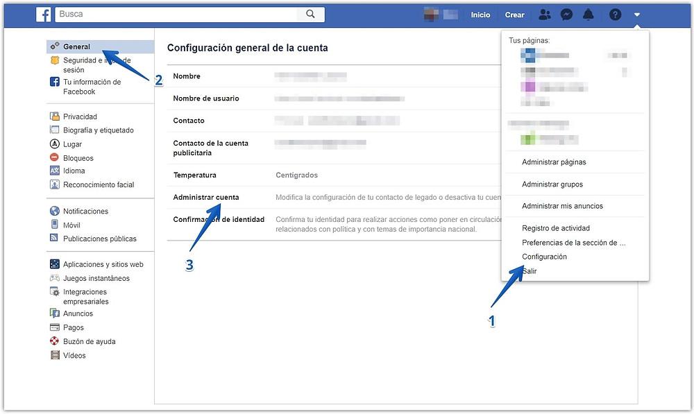 Tres pasos para llegar a la opción que nos permite desactivar nuestra cuenta de Facebook.