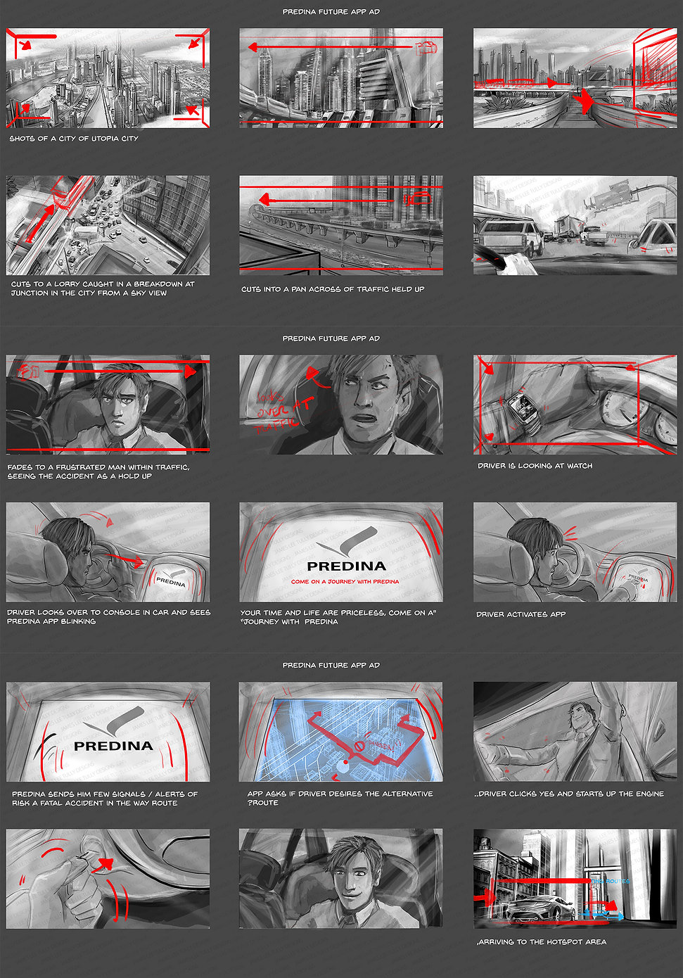 predina navigation app storyboard