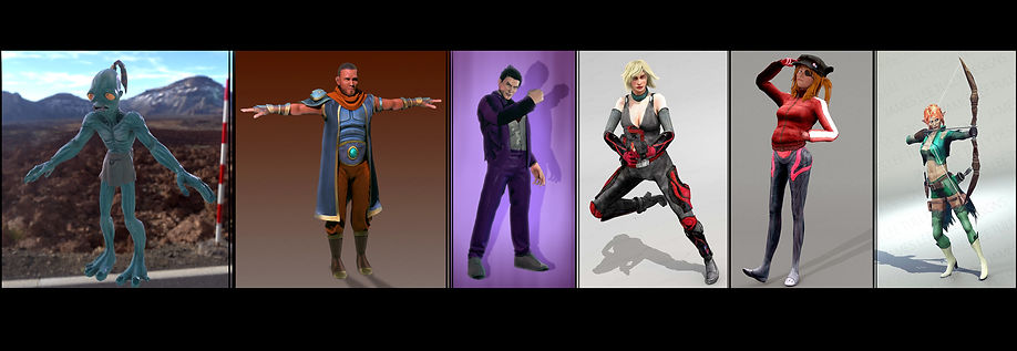 various low poly character models for in game