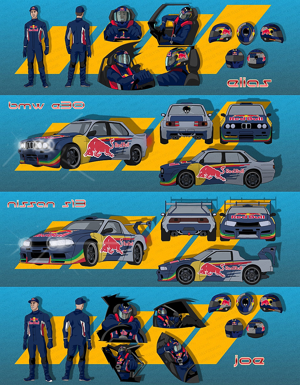 character designs for animation appearing in redbull drift brothers documentary