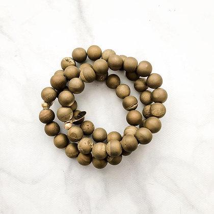 Matte Gold Druzy Bracelet 3 PK