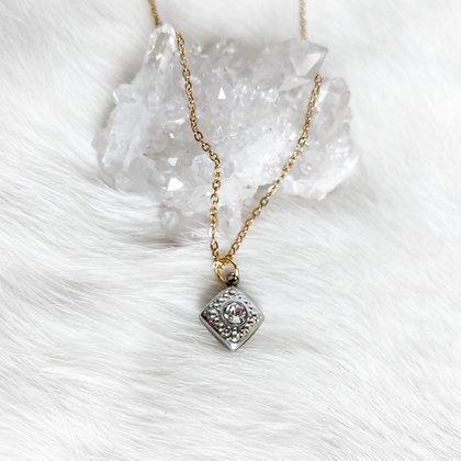 Silver Vintage Bezel Necklace