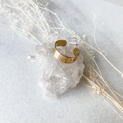 Thin Band Gold Cuff Ring