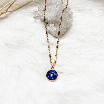 "Lapis Lazuli Coin Necklace 20-22"""
