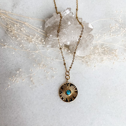 """Turquoise Sundial Coin Necklace 20"""""""