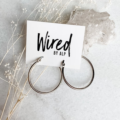 Medium Silver Hoops