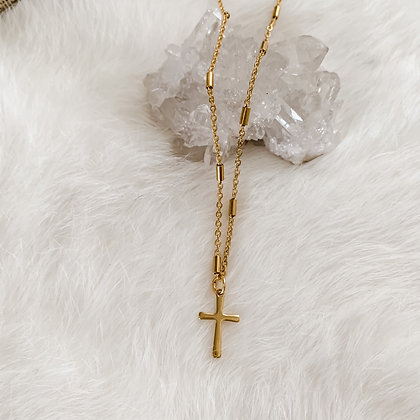 "Simple Cross Necklace 14-16"""