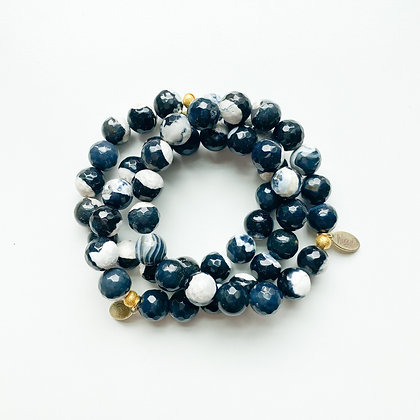 B&W Fire Agate Bracelet 3PK