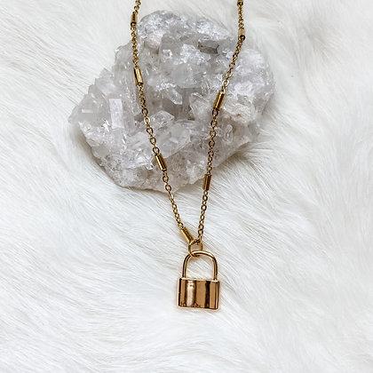 "Mini Lock Charm Necklace 18-20"""