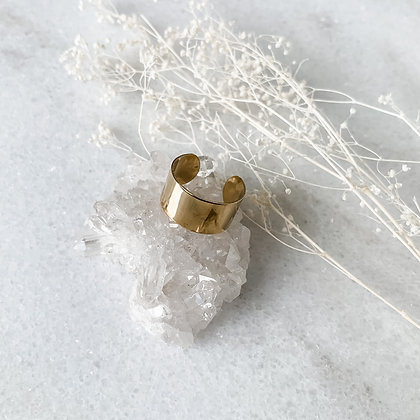 Thick Band Gold Cuff Ring