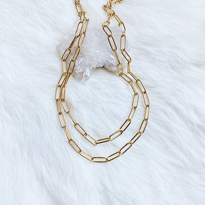 """Layered Thin Paperclip Necklace 14-16"""""""