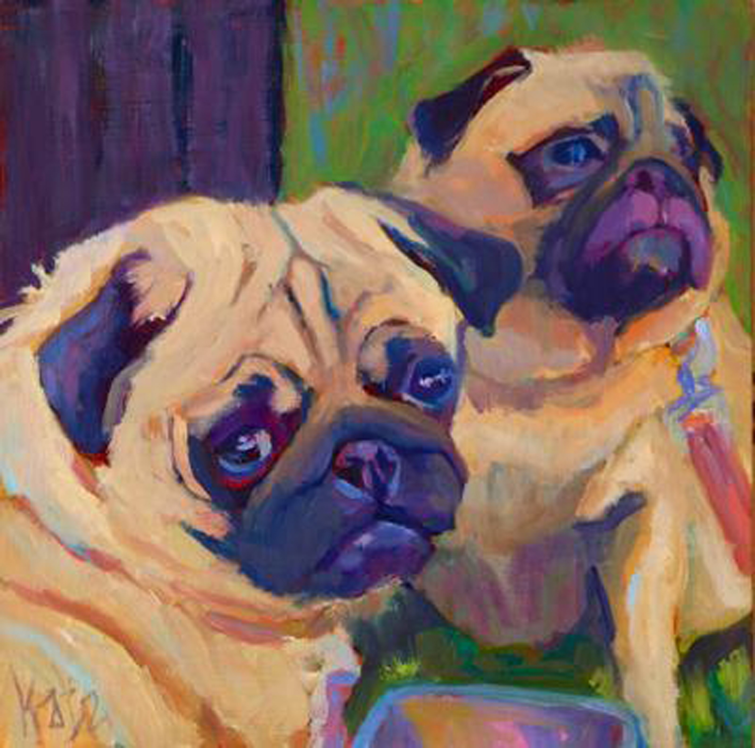 Katz Two Pugs 8x8 Oil on wood 320