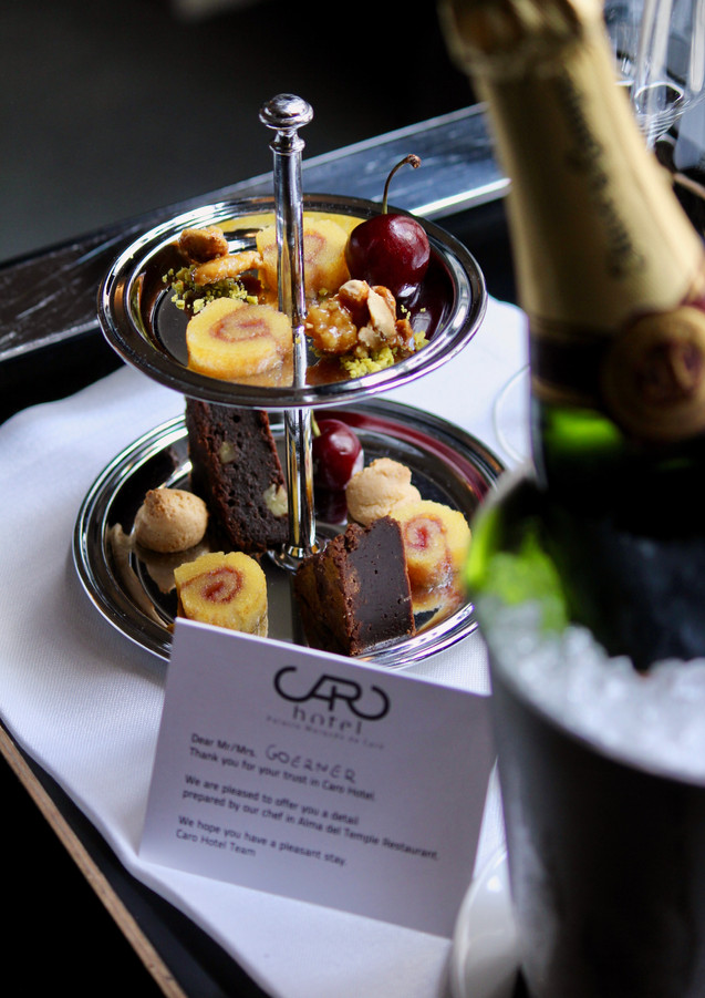 Welcome refreshments at Caro Hotel, Valencia, Spain