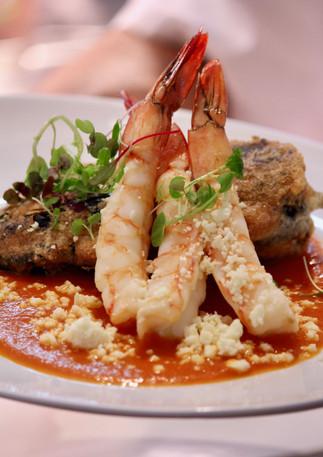 Adobo prawns at Sunday Lunch with Peter Kuruvita at Noosa Beach House, Noosa, Queensland, Australia