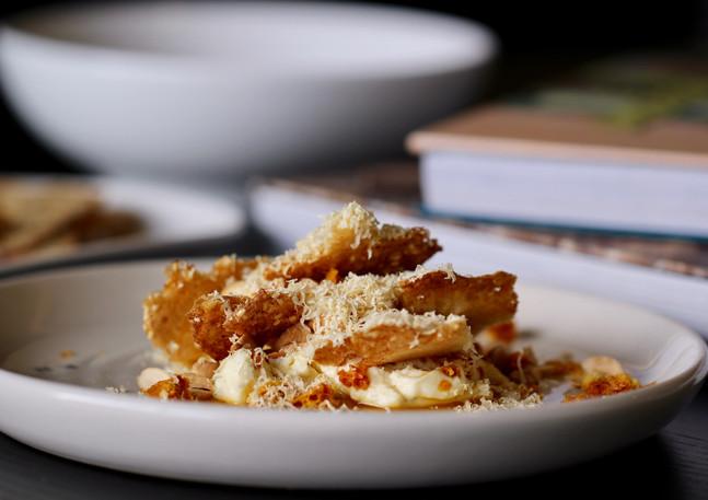 Honey and vanilla pannacotta with sesame crisp, honeycomb and almond at Rare Hare, Merricks, Victoria , Australia