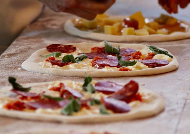 Pizza making by DOC, Melbourne Salami Festa, Northcote, Victoria, Australia