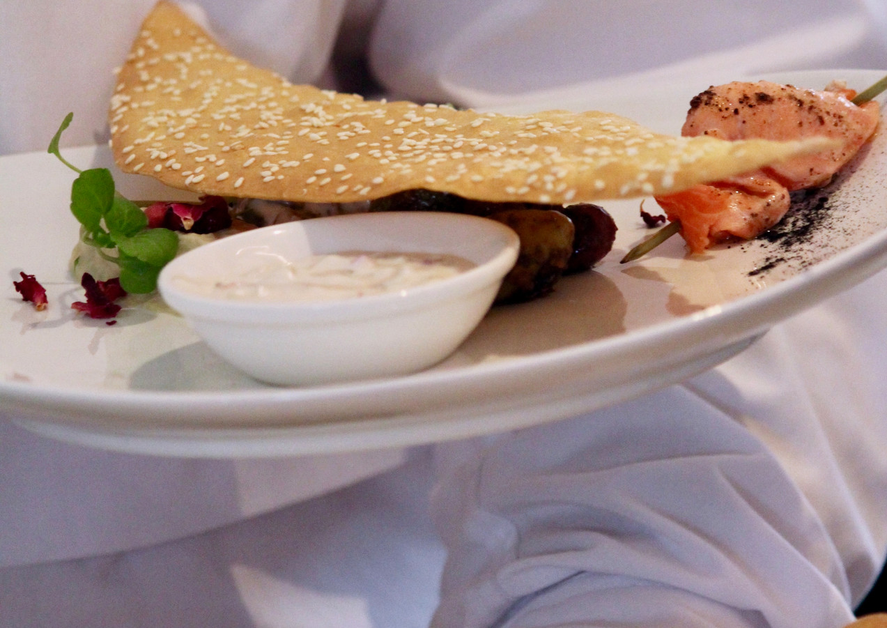Iranian meze plate at Sunday Lunch with Peter Kuruvita at Noosa Beach House, Noosa, Queensland, Australia