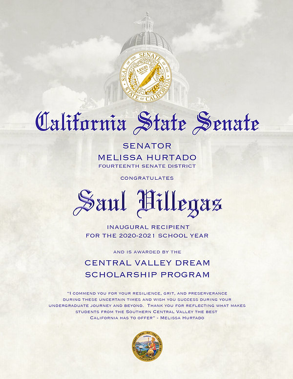 cllcf, scholarship, california, senator, central valley, fourteenth district
