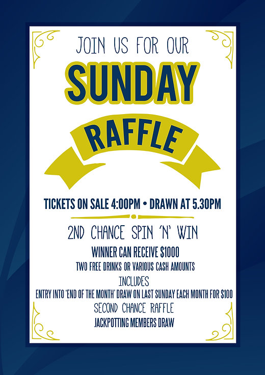 Water Board Bowling Club Sunday Raffles