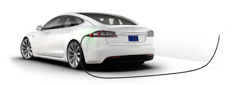 Tesla model S with charger