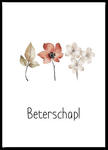 Wenskaart Beterschap bloemen