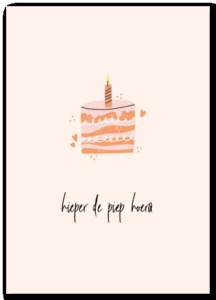 Wenskaart verjaardag - hieper de piep hoera