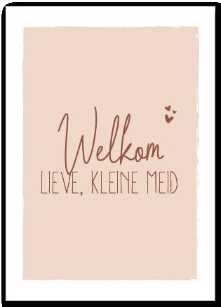 Wenskaart welkom lieve, kleine meid