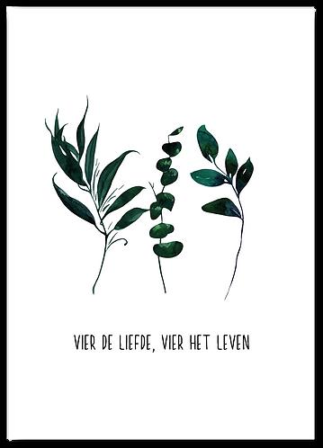 Wenskaart Vier de liefde, vier het leven