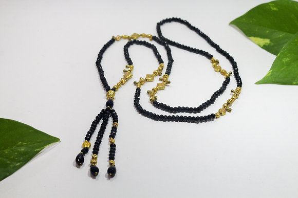 Saphire Mala, 22K Gold Plated Indian Beads