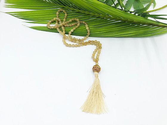 Burmese Jade 22K Gold Plated Mala Necklace, Beige
