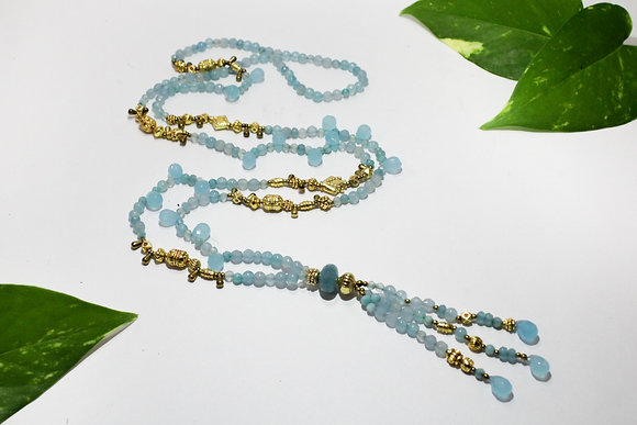 Aquamarine Mala, 22K Gold Plated Indian Beads