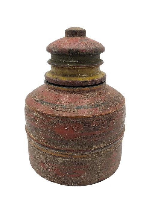 Hand-Carved Wooden Indian Vintage Spice Jar