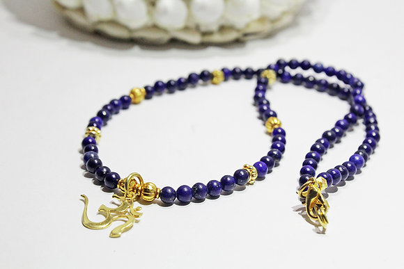 Lapis Necklace, 22K Gold Plated Beads and OM Pendant