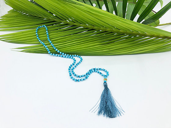 Tiger's Eye Children's Mala with 22K Accent Beads - Blue