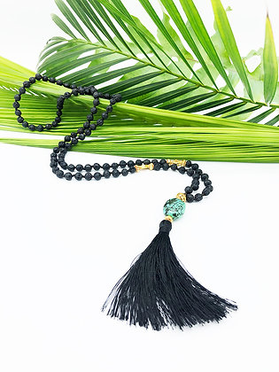Black Lava Stone, Mala Necklace withTurquoise Accent Bead
